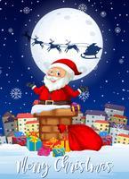Merry Chritmas santa e apresenta cartão vetor