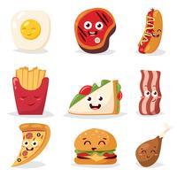Conjunto de ícones de fast food vetor