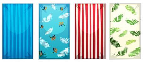 Conjunto de toalhas de praia coloridas vetor