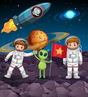 Tema do espaço com dois astronautas e alienígenas com bandeira vetor