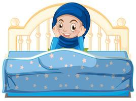 Um, jovem, muçulmano, menina, cama vetor