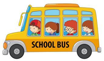 Estudante, levando, ônibus escolar vetor