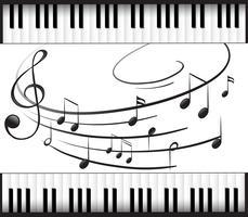 Modelo de plano de fundo com teclado de piano e notas musicais vetor