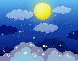 Fundo do céu com lua cheia e estrelas vetor