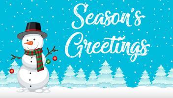Cartão de boneco de neve de saudações de temporada vetor