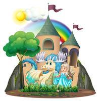 Princesa e fera pelo castelo vetor