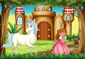 Cena, com, princesa, e, unicórnio vetor