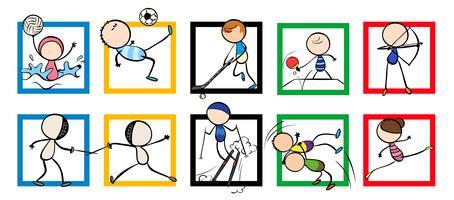 Design de logotipo com diferentes esportes vetor