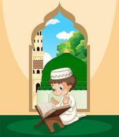 Um menino muçulmano estuda qur'an vetor