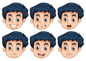 Homem, com, seis, diferente, emoções vetor