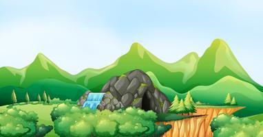 Cena da natureza com cachoeira e caverna vetor
