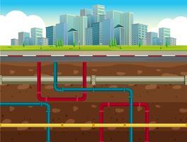 O sistema de tubulação de água subterrânea vetor