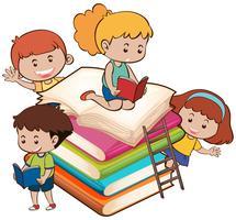 Crianças com o livro vetor