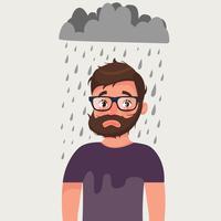 Homem azarado com mau humor sob chuva.