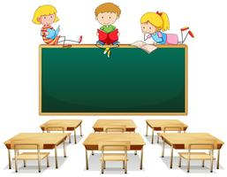Três crianças na sala de aula vetor
