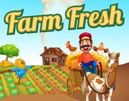 Modelo de paisagem fresca de fazenda vetor