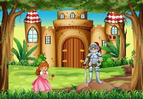 Cena com princesa e cavaleiro vetor