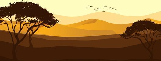 Uma bela vista do deserto vetor