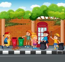 Feliz, crianças, colecionar, lixo vetor