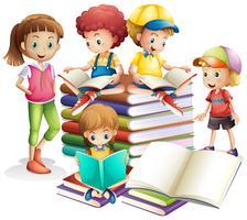 Bonito, menino menina, leitura, livros vetor