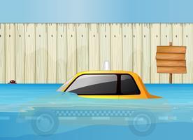 Um táxi em enchente