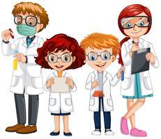 Pessoas em roupas de ciência com proteções vetor