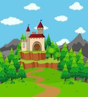 Cena, com, castelo, torre, em, a, campo vetor