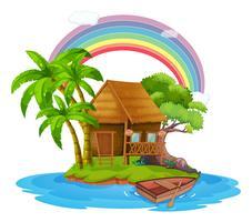 Uma pequena cabana em uma bela ilha vetor