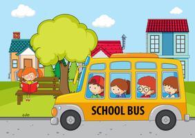 Crianças no ônibus escolar vetor