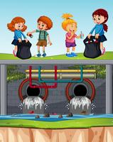 Crianças, voluntário, limpar, desperdício, esgoto vetor