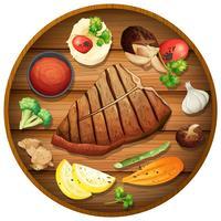 Jantar de bife no prato redondo vetor
