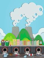 Uma poluição da usina nuclear vetor