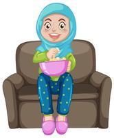 Um, menina muçulmana, comer, pipoca vetor