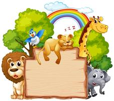 Animal selvagem na bandeira de madeira vetor