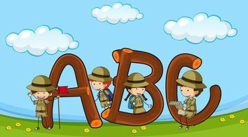 Font ABC com crianças em uniforme boyscout vetor