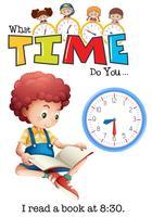 Um menino lendo um livro às 8:30 vetor