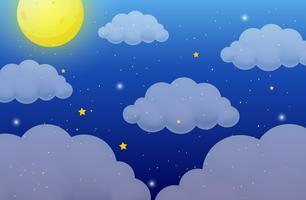 Fundo de natureza com lua e estrelas