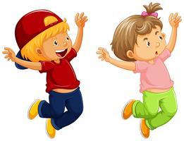 Menino e uma menina pulando vetor