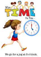 Uma menina correndo às 5 horas vetor