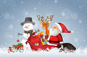 Papai Noel com modelo de Natal vetor