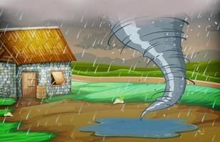 Uma tempestade atingiu a casa vetor