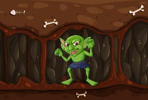 Goblin na caverna do mistério vetor