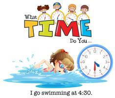 Uma menina nadando às 4:30 vetor