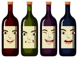 Expressões faciais em garrafas de vinho vetor