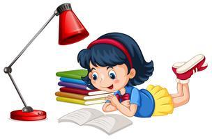 Um, menina, livro leitura vetor