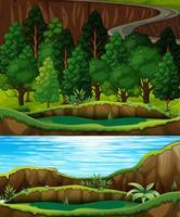 Uma floresta verde e paisagem do rio vetor