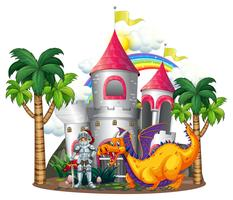 Cavaleiro e dragão nas torres do castelo vetor