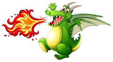 Um fogo de dragão verde vetor