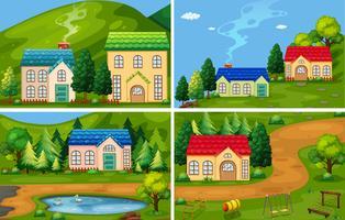 Um conjunto de casa da floresta vetor