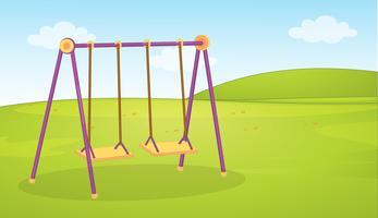 Balanço vazio conjunto fundo de parque infantil